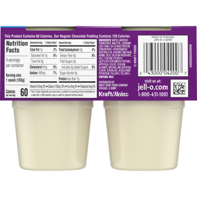Jell-O Ready to Eat Sugar Free Vanilla Pudding Cups, 14.5 oz Sleeve (4 Cups)