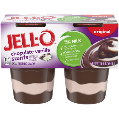 Jell-O Ready to Eat Chocolate Vanilla Swirl Pudding Snack, 15.5 oz Sleeve (4 Cups)