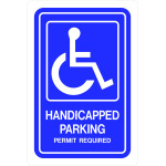 "Aluminum Handicapped Parking Sign, 12"" x 18"""