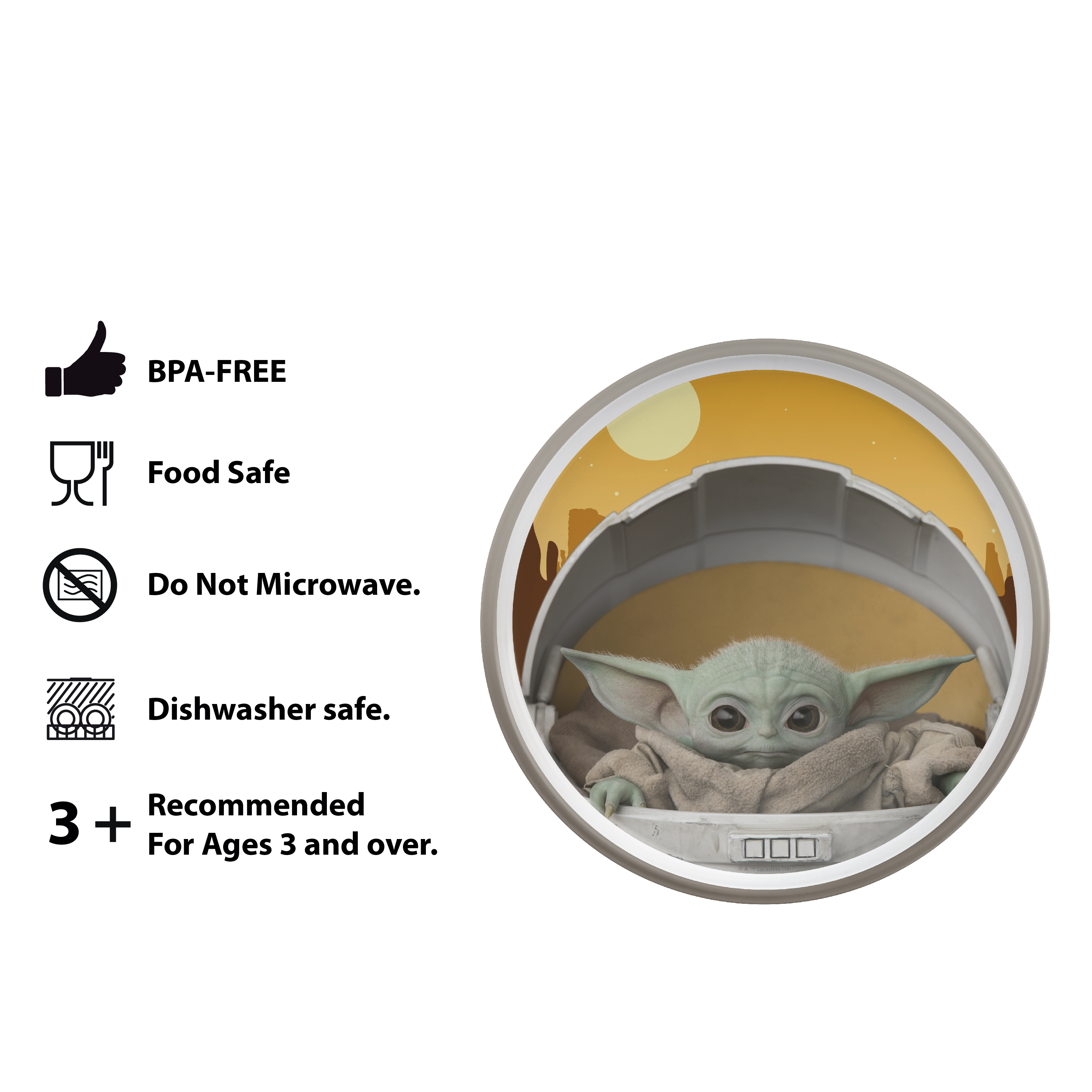 Star Wars: The Mandalorian Kids Dinnerware Set, The Child, 2-piece set slideshow image 7