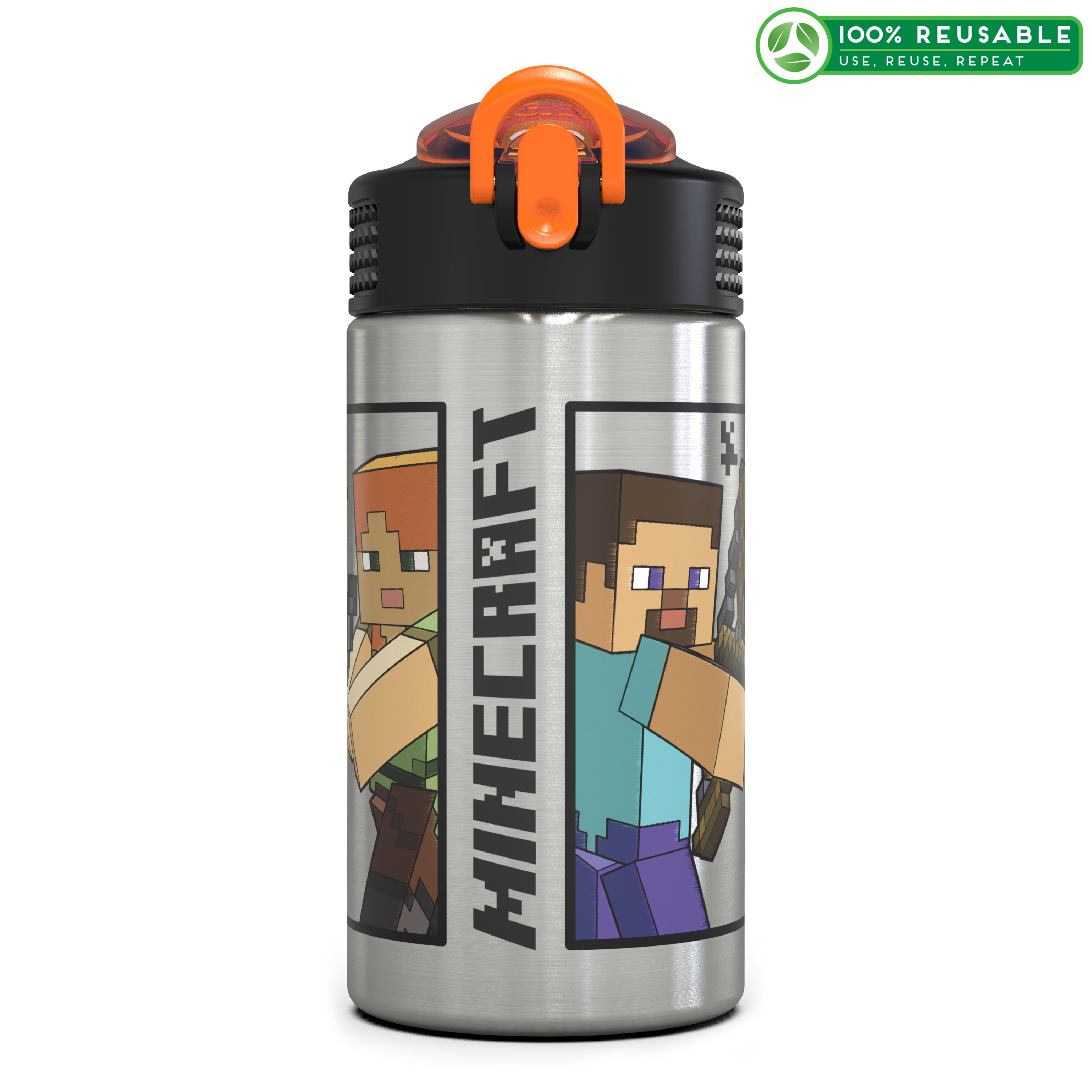 Minecraft 15.5 ounce Water Bottle, Steve and Alex slideshow image 1
