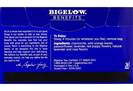 Back of Bigelow Benefits Chamomile and Lavender Herbal Tea box