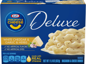 Kraft Deluxe White Cheddar & Garlic & Herbs Macaroni & Cheese Dinner with Cavatappi Pasta 11.9 oz Box image
