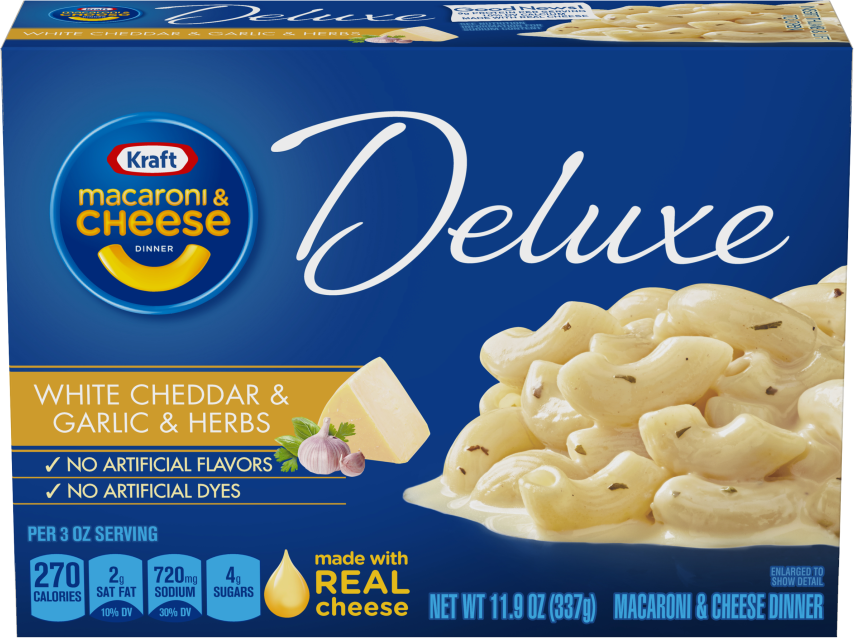 Kraft Deluxe White Cheddar & Garlic & Herbs Macaroni & Cheese Dinner with Cavatappi Pasta 11.9 oz Box