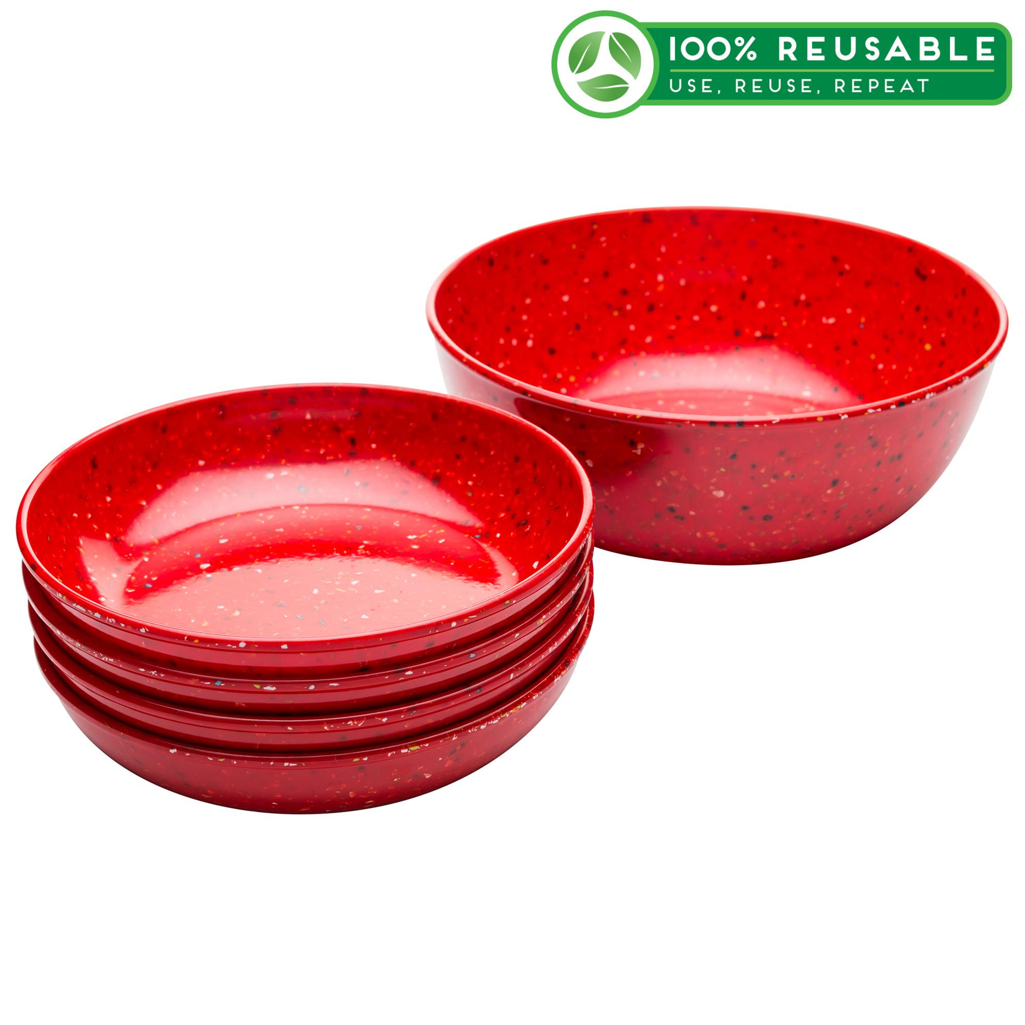 Confetti Pasta Bowl Set, Red, 5-piece set slideshow image 1