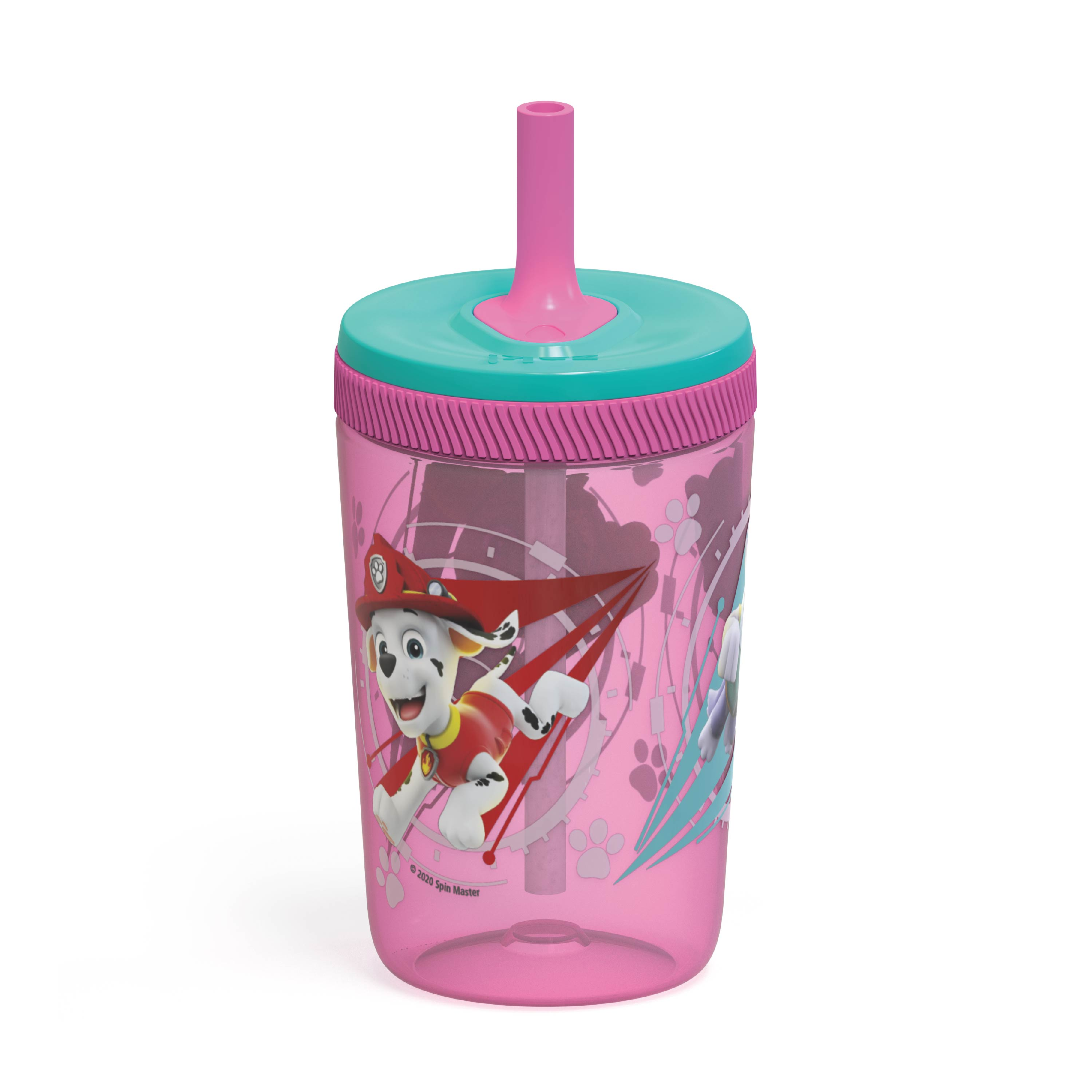 Paw Patrol 15  ounce Plastic Tumbler with Lid and Straw, Marshall and Skye, 2-piece set slideshow image 2