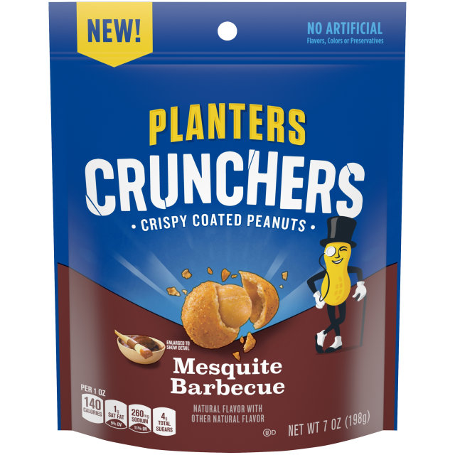 Planters Crunchers Snack Nuts Mesquite Barbecue 7 oz Bag image