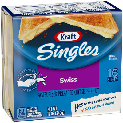 Kraft Singles Swiss Cheese Slices, 12 oz (16 slices)