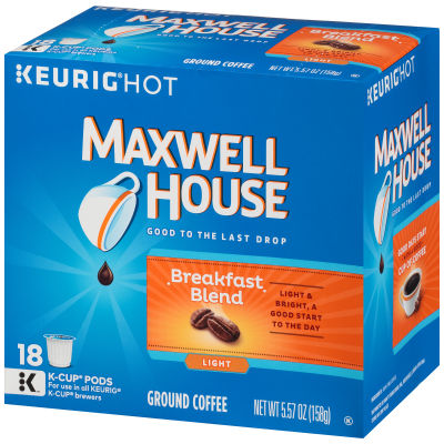 Maxwell House Breakfast Blend Ground Coffee K-Cup Pods, 18 count