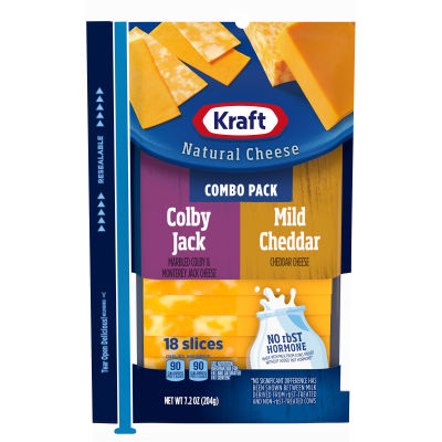 Kraft Colby Jack & Mild Cheddar Natural Cheese Slices 18 slices - 7.2 oz Wrapper