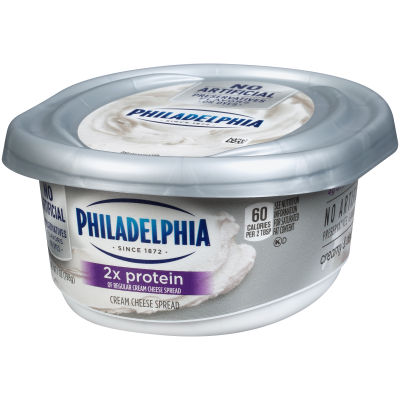 Philadelphia Plain 2x Protein Cream Cheese Spread 7 oz Tub