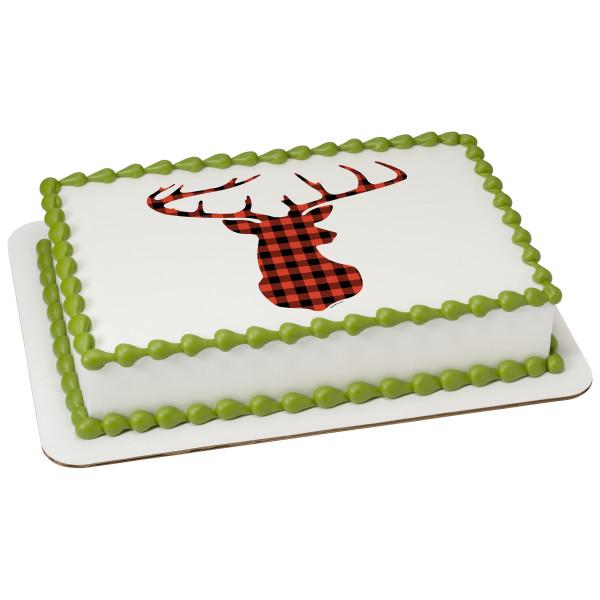 Red Check Plaid Deer PhotoCake® Edible Image®