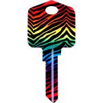 Kool Keys Rainbow Zebra Key Blank