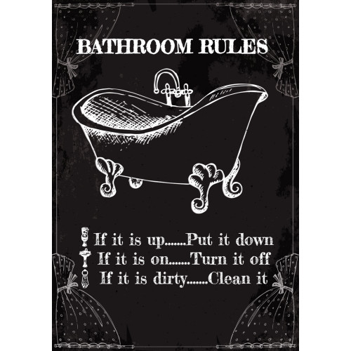 Bathroom Rules Novelty Sign (10