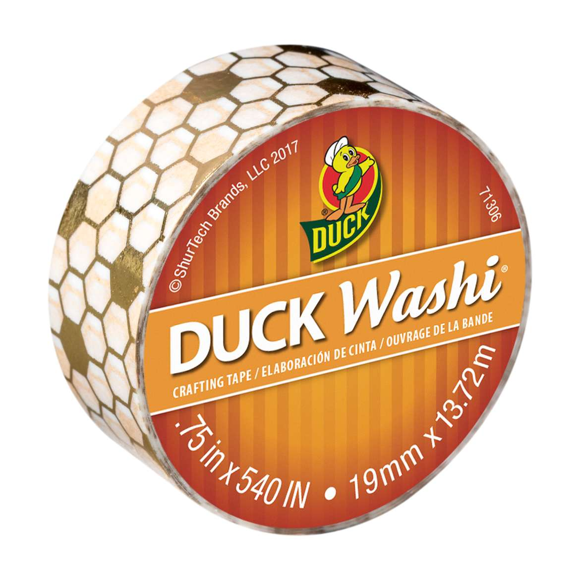 Duck Washi® Crafting Tape - Metallic Honeycomb, 0.75 in. X 15 yd. Image