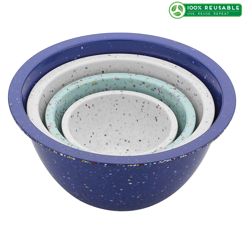 Confetti Mixing Bowl Set, White, Blue & Mint, 4-piece set slideshow image 1