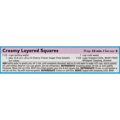 Jell-O Cherry Sugar Free Gelatin Mix, 0.6 oz Box