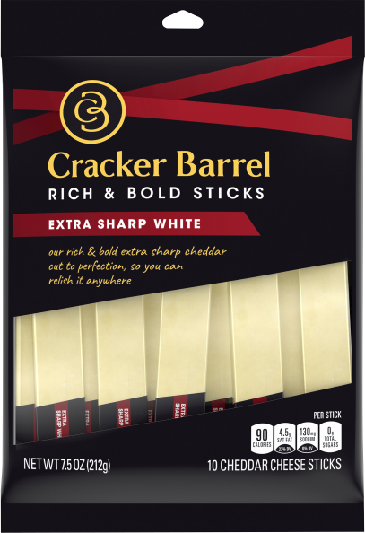 Cracker Barrel Extra Sharp White Cheddar Cheese Sticks 7.5 oz Bag (10 Sticks)