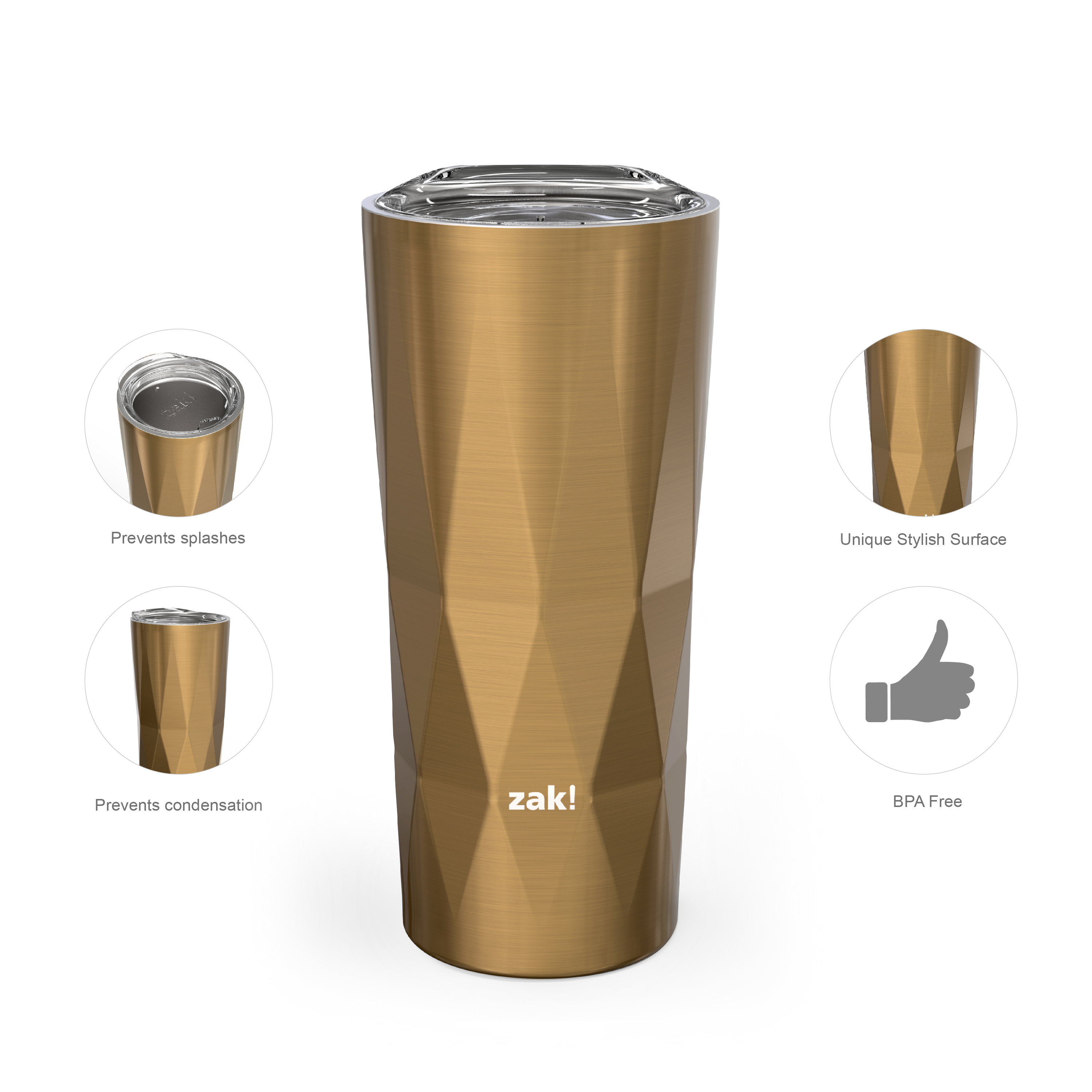 Fractal 16 ounce Vacuum Insulated Stainless Steel Tumbler, Copper slideshow image 4