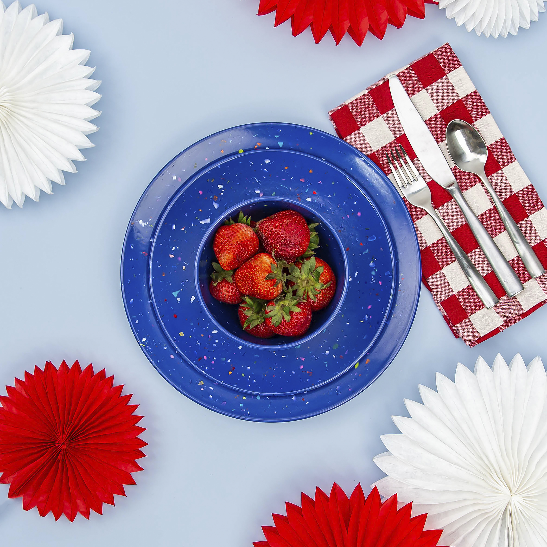 Confetti Dinner Plate, Salad Plate and Bowl Dinnerware Set, Blue, 12-piece set slideshow image 3