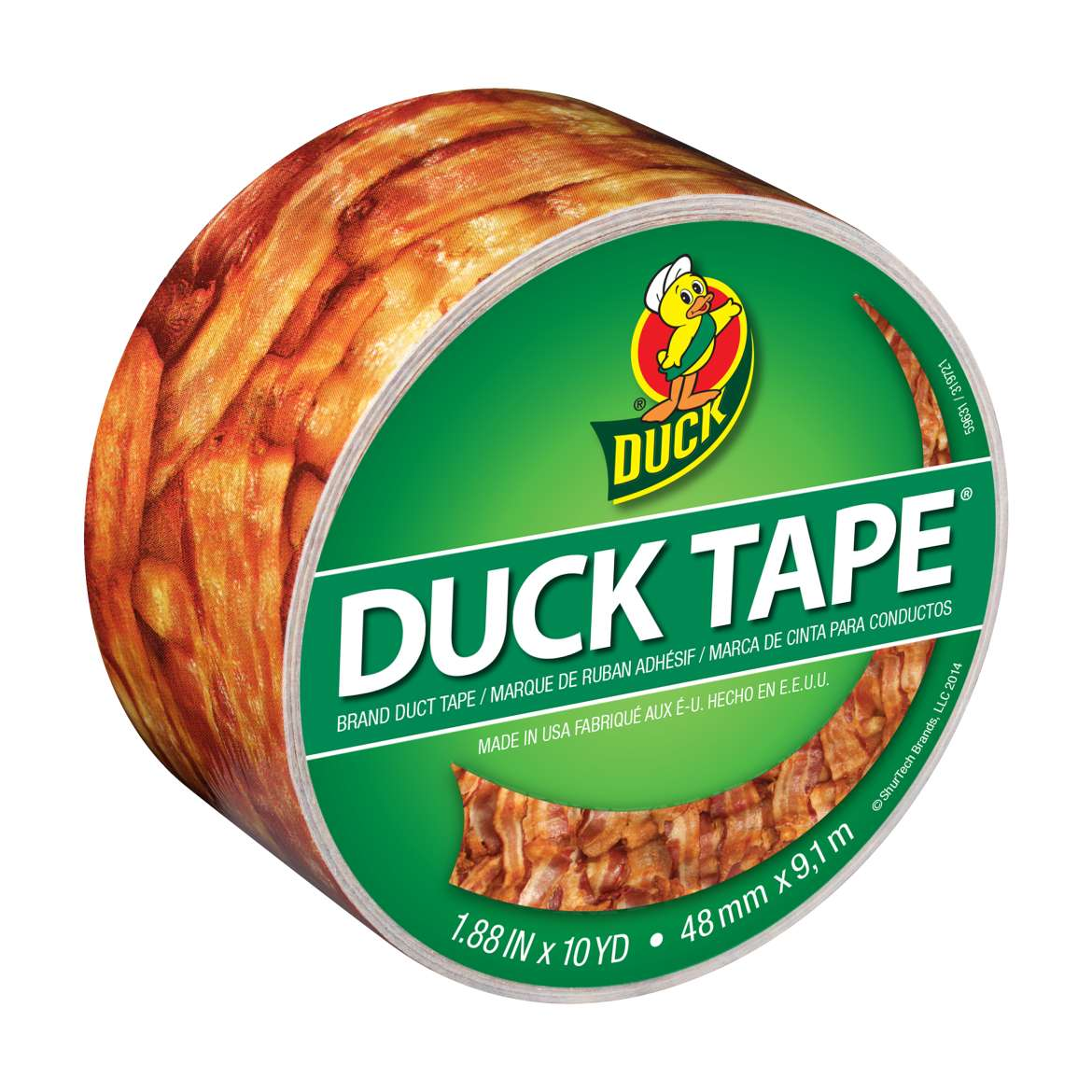Printed Duck Tape® Brand Duct Tape - Bacon, 1.88 in. x 10 yd. Image