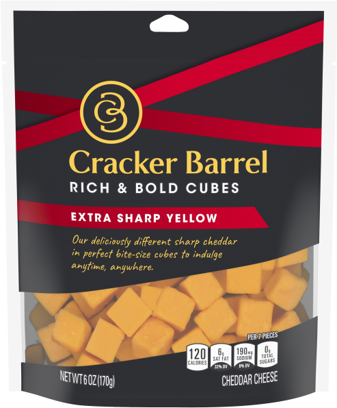 Cracker Barrel Cubes, Extra Sharp Yellow Cheddar, 6oz Bag