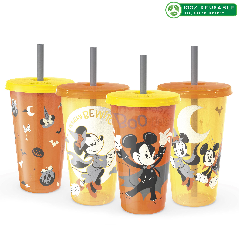 Disney 24 ounce Reusable Plastic Kids Tumbler, Mickey Mouse, 4-piece set slideshow image 1