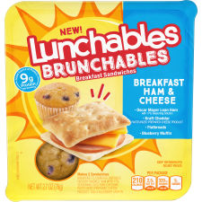 Lunchables Brunchables Ham & Cheese Breakfast Sandwiches & Blueberry Muffin, 2.7 oz Tray