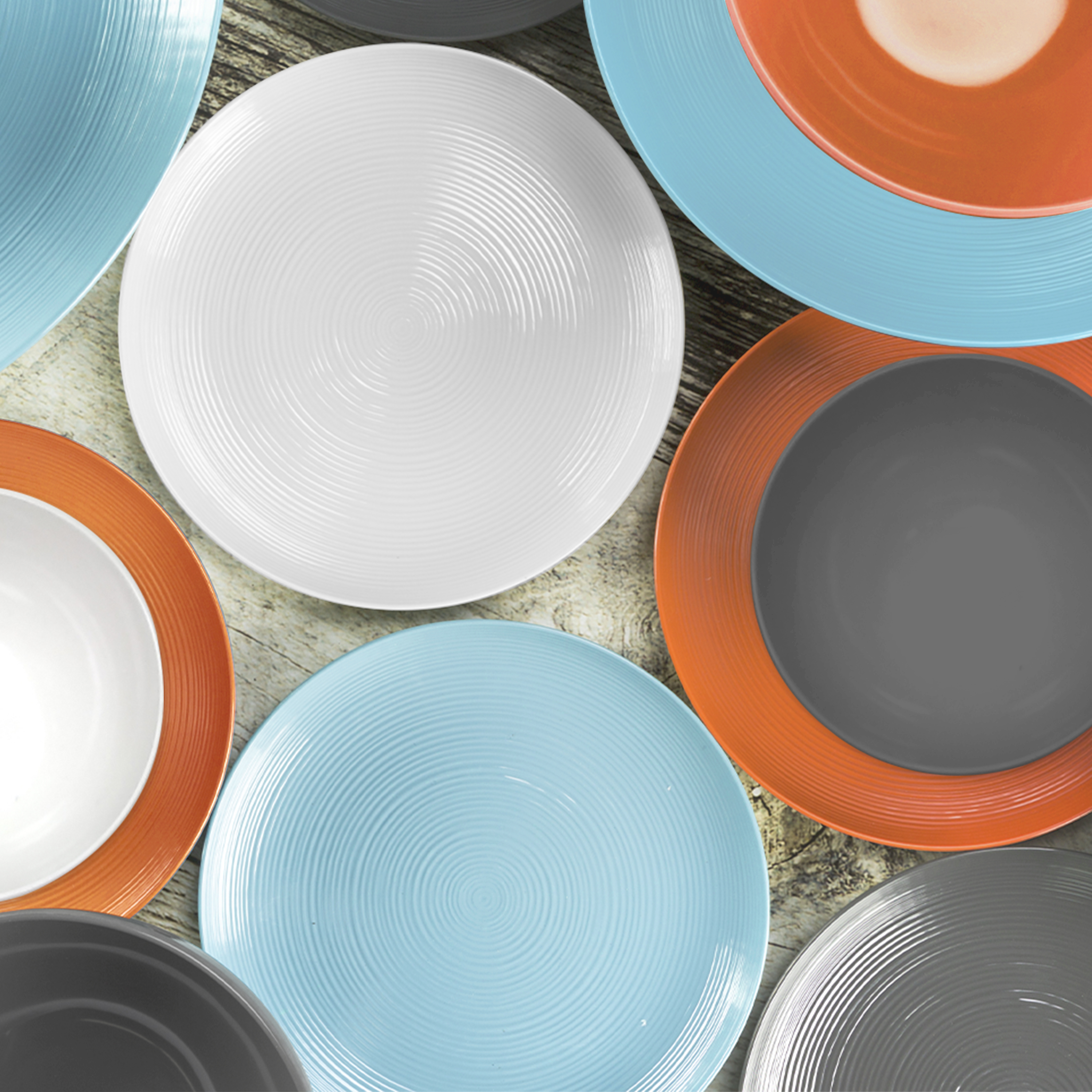 American Conventional Plate & Bowl Sets, Orange, 12-piece set slideshow image 10