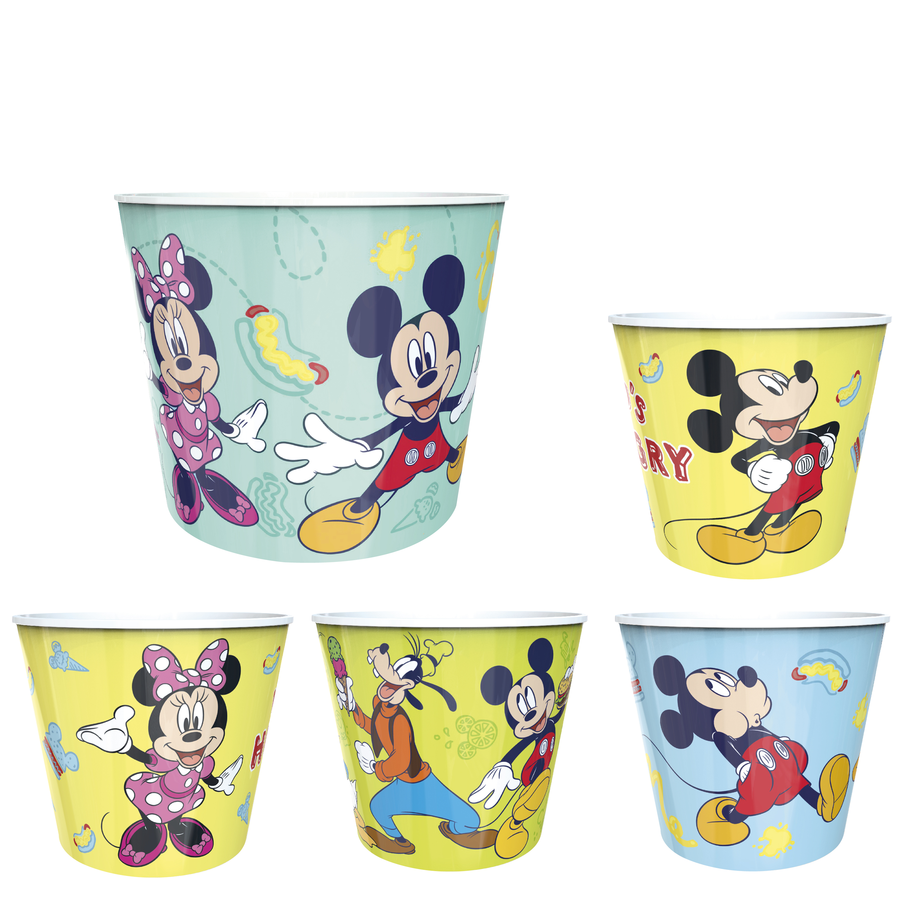 Disney Plastic Popcorn Container and Bowls, Mickey Mouse and Minnie Mouse, 5-piece set slideshow image 1