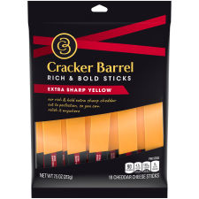 Cracker Barrel Extra Sharp Cheddar Cheese Sticks 7.5 oz Bag (10 Sticks)