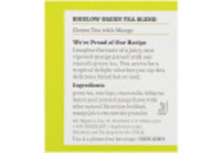 Ingredient panel of Green Tea with Mango tea box