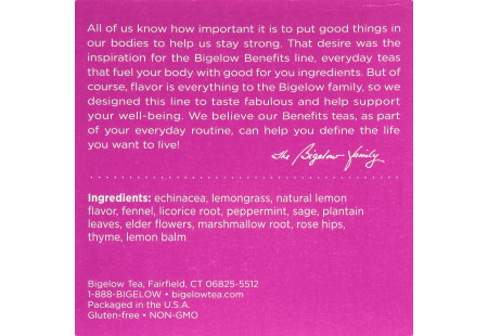 Keurig Bigelow Beneifts Lemon and Echinacea Herbal Tea  K-Cups box of 10 - ingredient listing