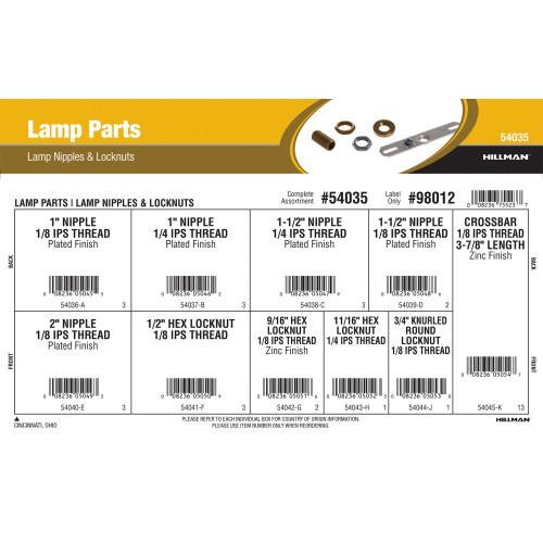 Lamp Parts Assortment (Lamp Nipples & Locknuts)