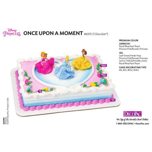 Disney Princess Once Upon a Moment Cake Decorating Instruction Card