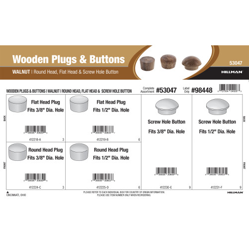 Walnut Wooden Plugs & Buttons Assortment (Round Head, Flat Head, & Screw Hole Button)