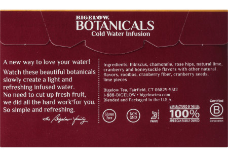 Back panel of Bigelow Botanicals Cranberry Lime Honeysuckle Hibiscus Cold Water Infusion Box