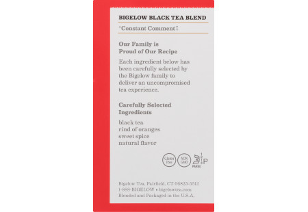 Ingredient panel of Constant Comment Tea 40 tea bags per box