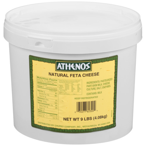 Athenos Natural Crumbled Feta Cheese 144 oz Bucket