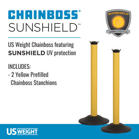 ChainBoss Stanchion - Yellow Filled with No Chain 2