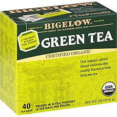 Green Tea Organic 40 Count - Case of 6 boxes- total of 240 teabags