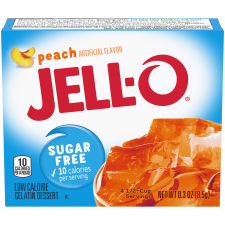 Jell-O Peach Sugar Free Gelatin Mix, 0.3 oz Box