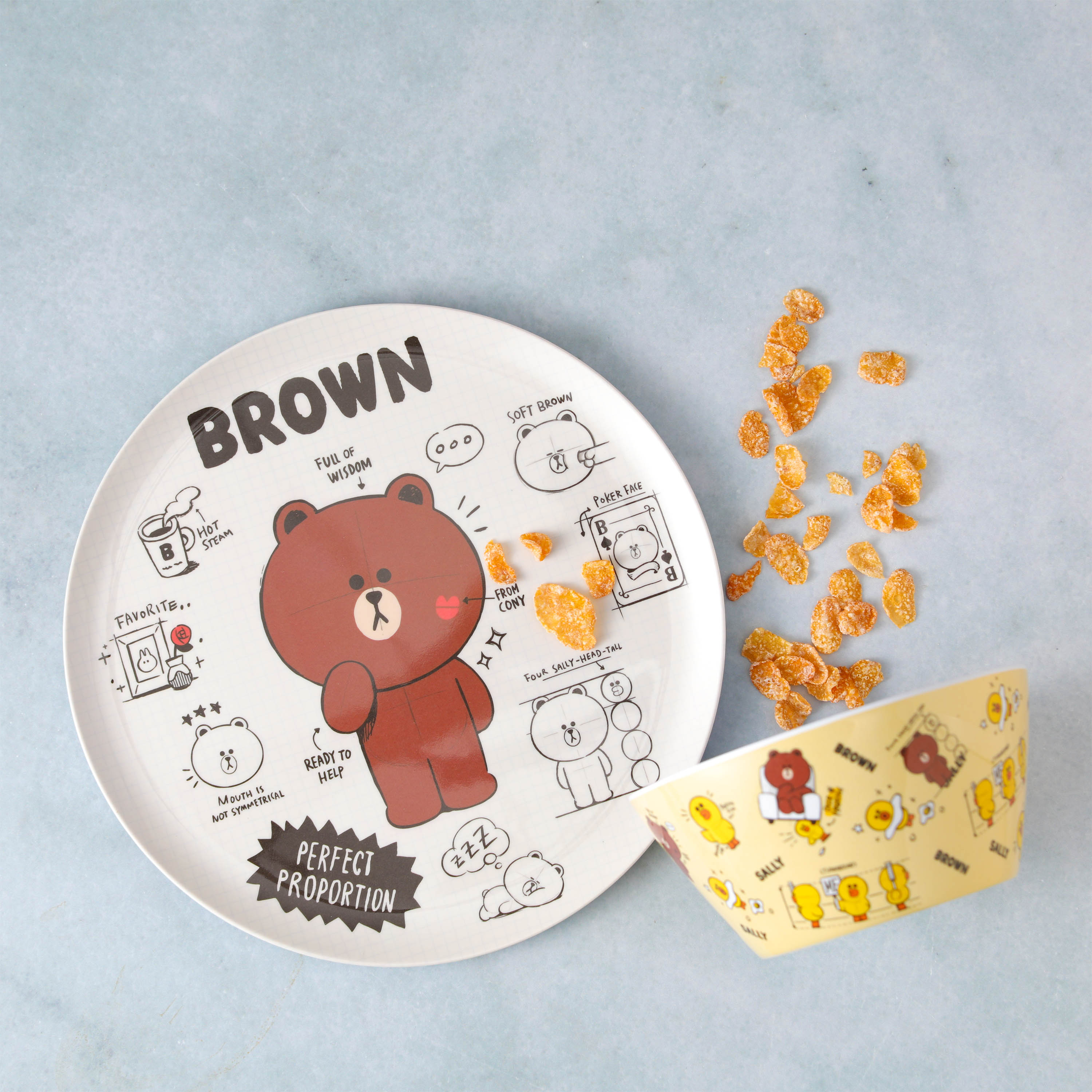 Line Friends Dinnerware Set, Teddy Bear, 2-piece set slideshow image 3