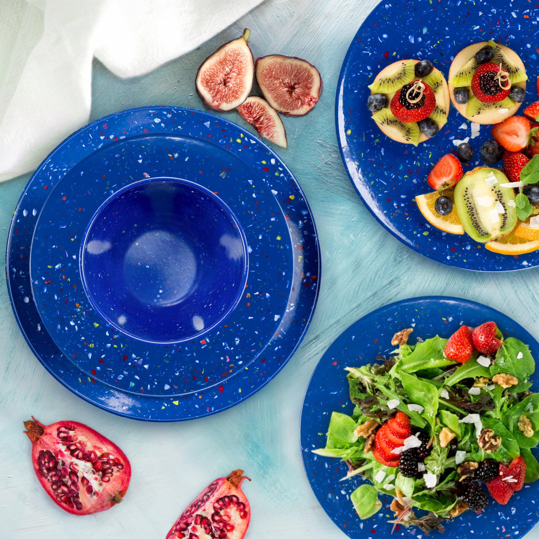 Confetti Dinner Plate, Salad Plate and Bowl Dinnerware Set, Blue, 12-piece set slideshow image 2