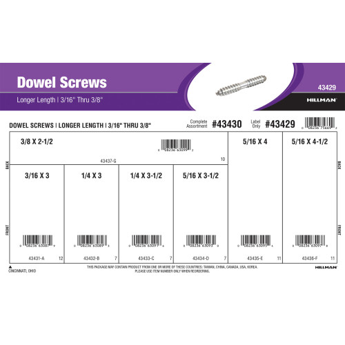 Dowel Screws Assortment (3/16