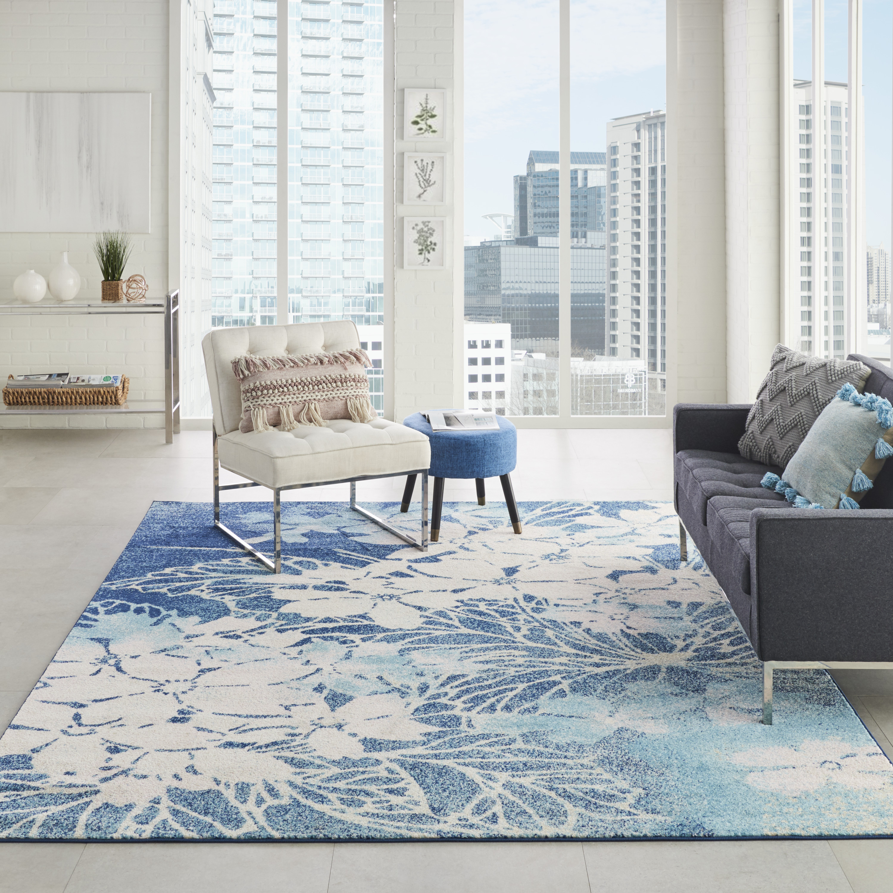 Nourison Tranquil TRA08 Navy Pink Rug