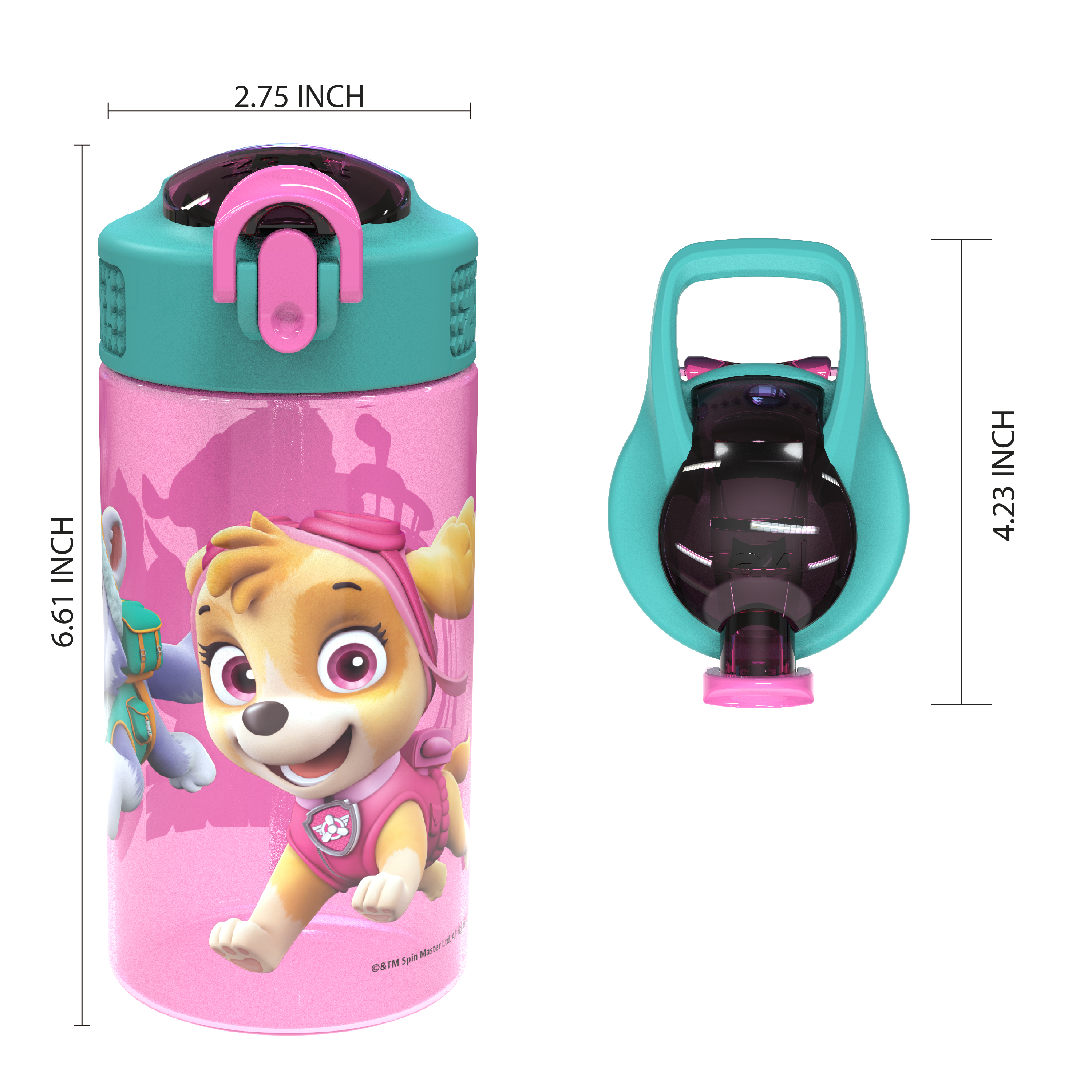 Paw Patrol 16 ounce Reusable Plastic Water Bottle with Straw, Skye, 2-piece set slideshow image 5
