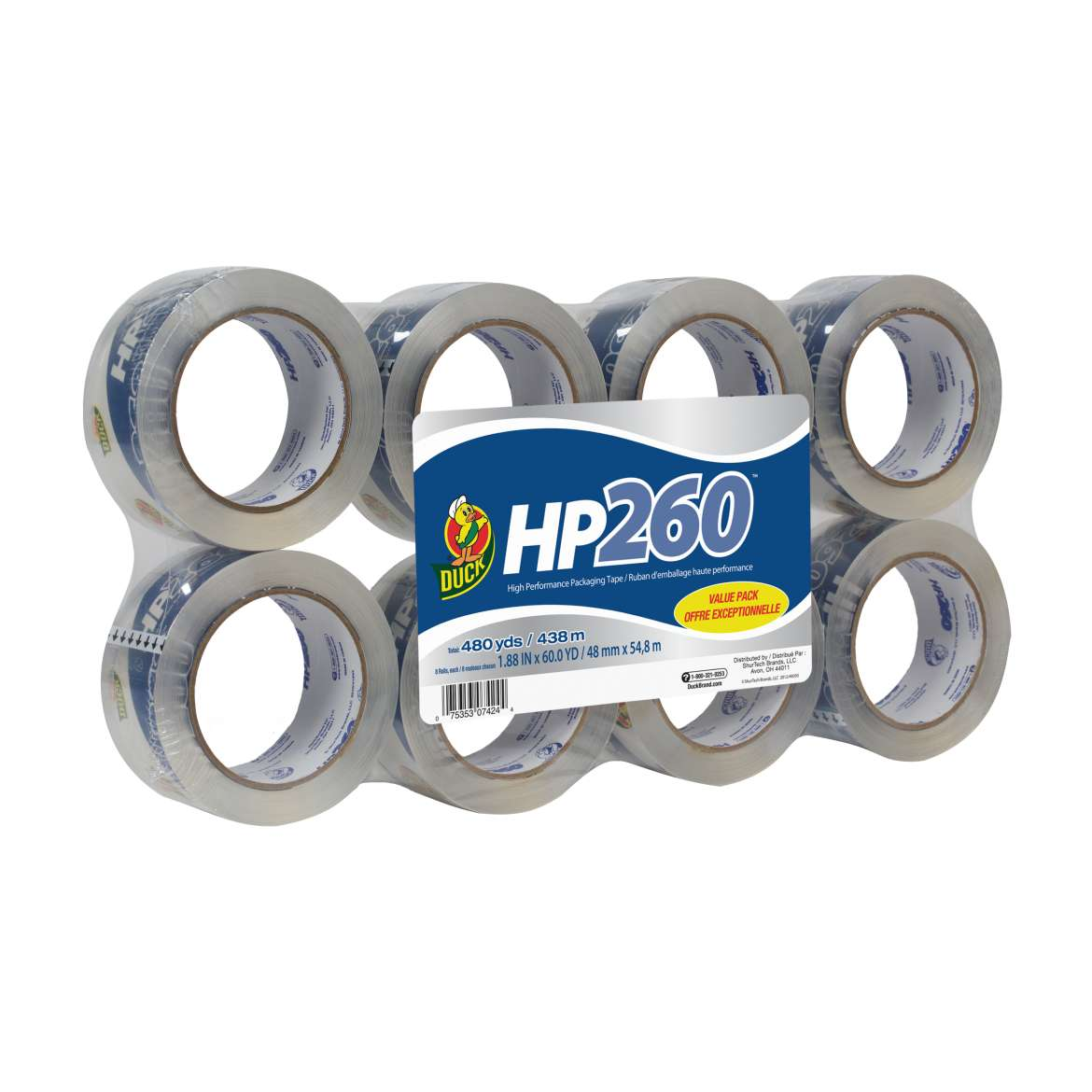 HP260™ Packaging Tape - Clear, 8 pk, 1.88 in. x 60 yd. Image