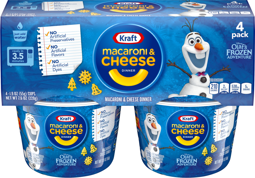 Kraft Olaf's Frozen Adventure Shapes Macaroni & Cheese Dinner 4-1.9 oz. Microcups image