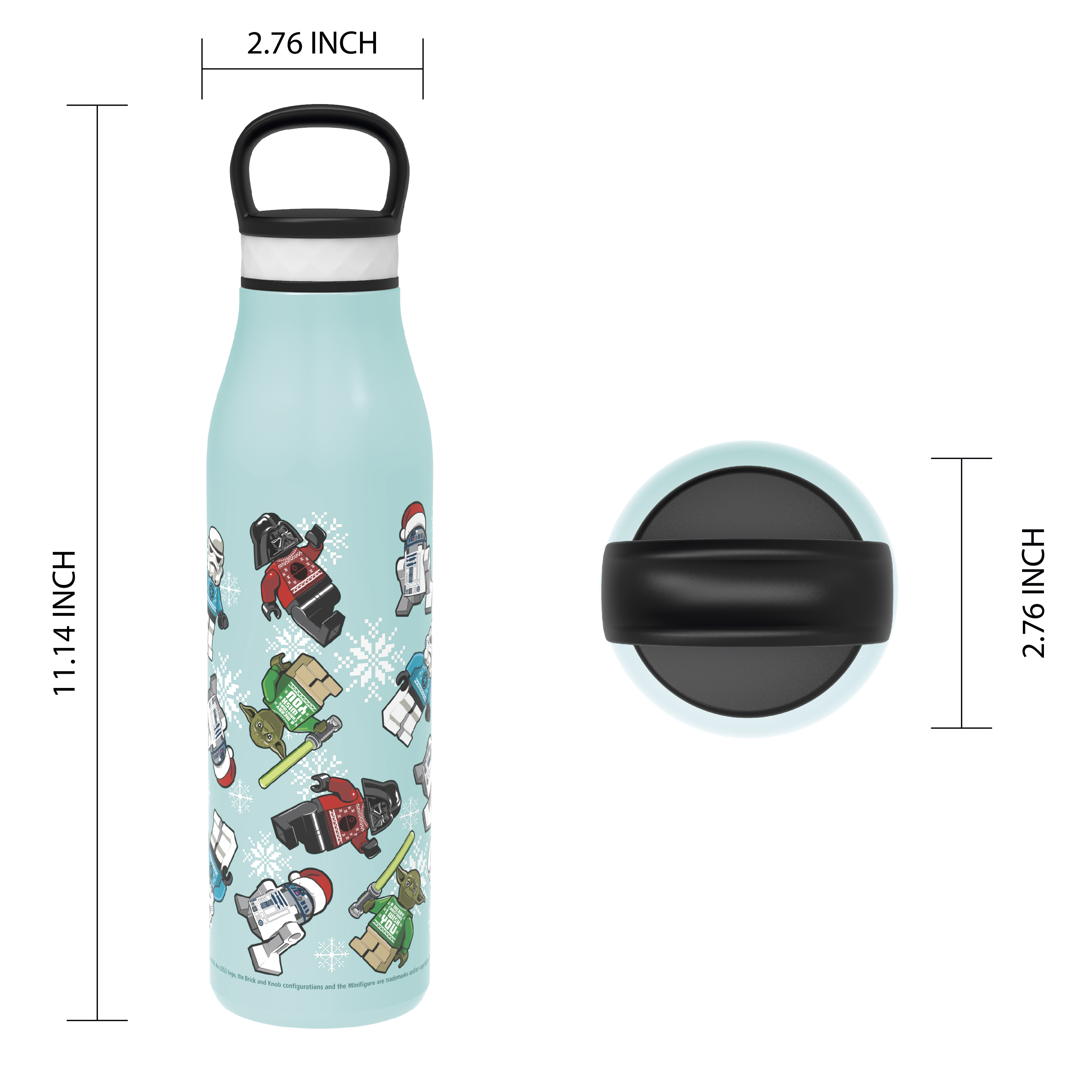 Lego Star Wars 20 ounce Stainless Steel Vacuum Insulated Water Bottle, R2-D2, Yoda and Darth Vader slideshow image 4